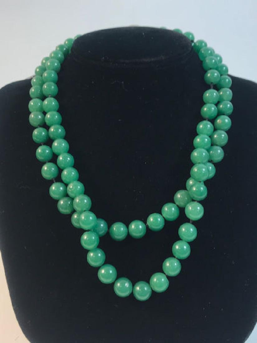 JADE NECKLACE ~ GREEN JADE BEADS (9MM). MULTI-STRAND