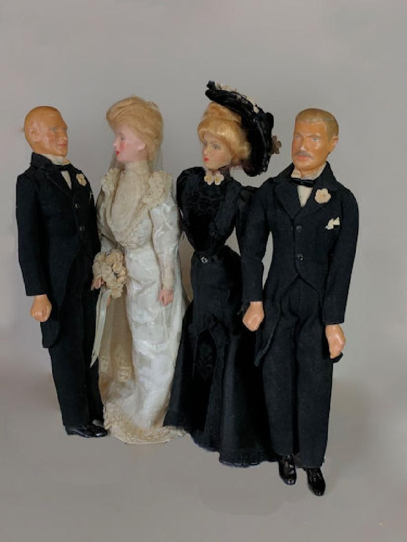 """(4) VINTAGE 15"""" WAX PORTRAIT """"WEDDING PARTY"""" OF THE"""