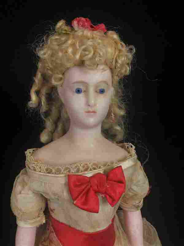 """19"""" INCREDIBLE ANTIQUE POURED WAX LADY WITH SPECIAL"""