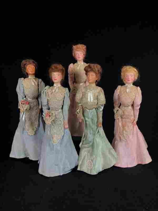 """(5) VINTAGE 15"""" WAX PORTRAIT """"WEDDING PARTY"""" OF THE"""