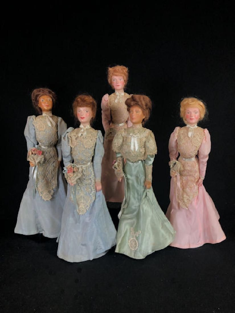 "(5) VINTAGE 15"" WAX PORTRAIT ""WEDDING PARTY"" OF THE"