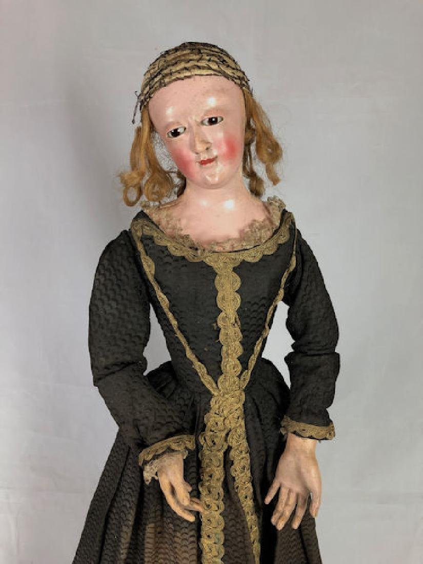 """25½"""" EARLY ANTIQUE WOODEN """"CAGE DOLL"""" IN EARLY"""