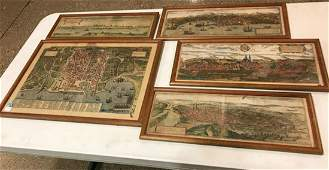 FIVE EARLY HAND COLORED MAPS AND SCENES INCLUDING