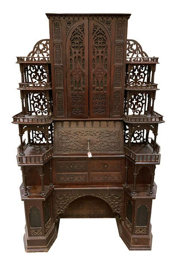 ORNATE CATHEDRAL DESK, FRETWORK IN DOORS AND BACK