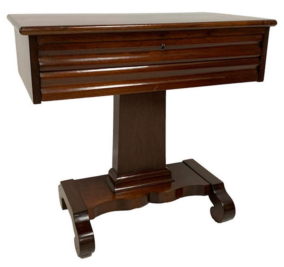 MAHOGANY EMPIRE PEDESTAL BASE CONSOLE TABLE WITH OGEE