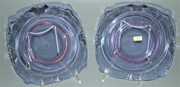 "1201: HEISEY 1401 EMPRESS ALEXANDRITE 8"" SQUARE PLATES"