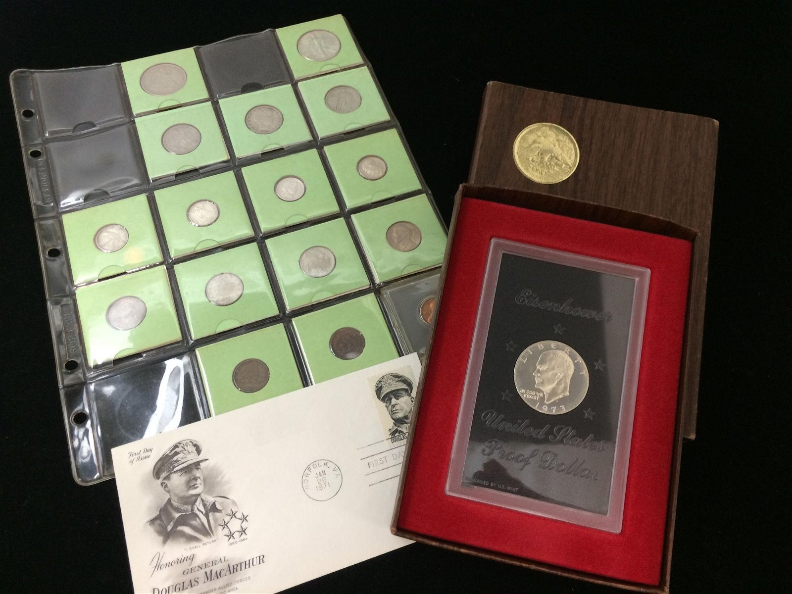 MIXED LOT INCLUDING 1973 EISENHOWER PROOF DOLLAR, FIRST