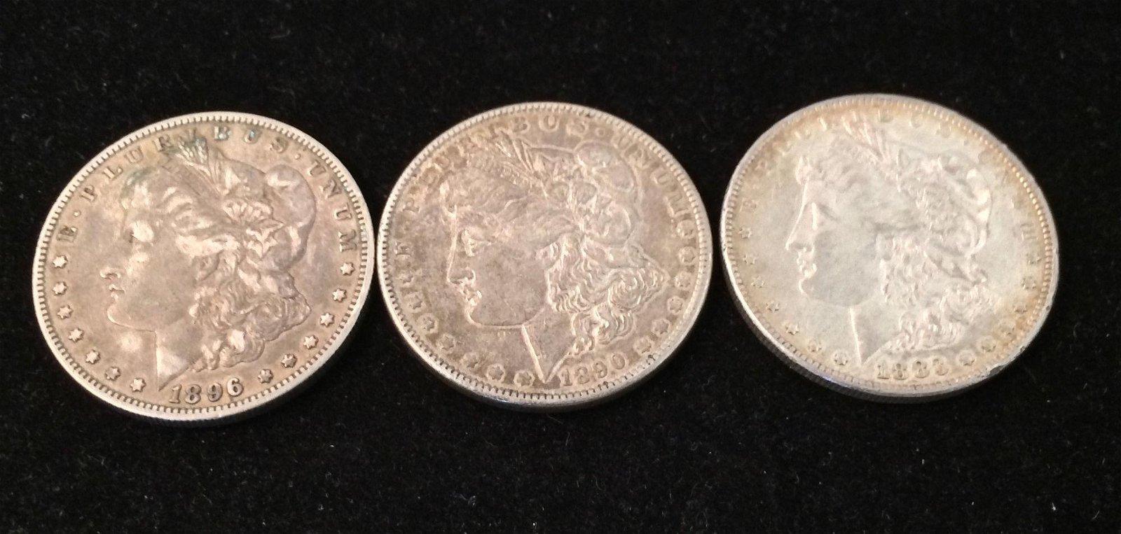 3 U.S. MORGAN SILVER DOLLARS 1883, 1890, AND 1896O *tax