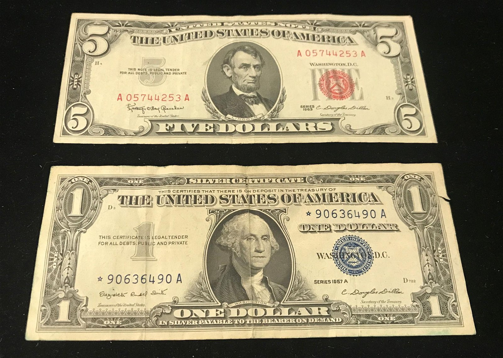 SERIES 1963 FIVE DOLLAR RED SEAL NOTE AND SERIES 1957