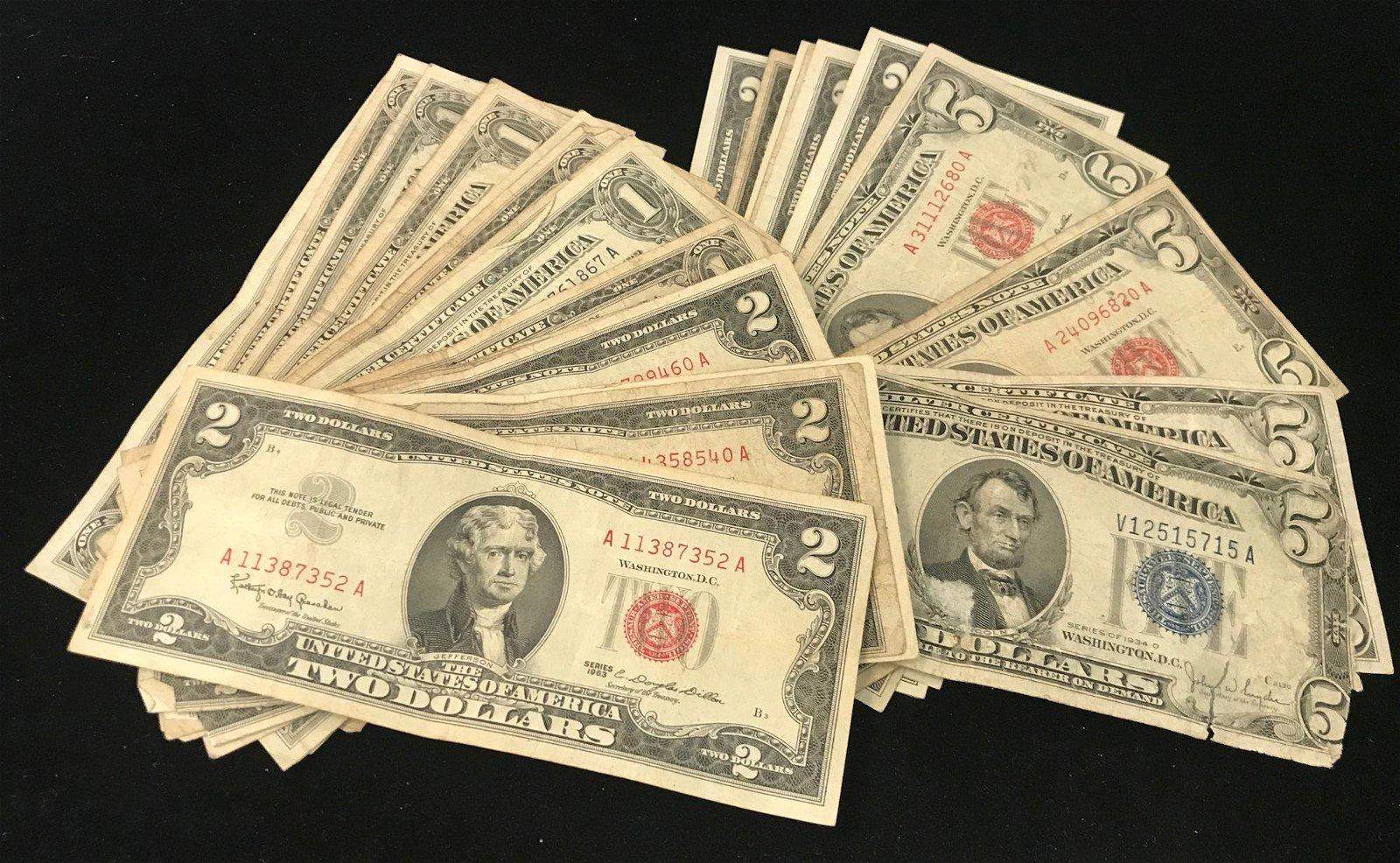 2 SERIES 1934 FIVE DOLLAR SILVER CERTIFICATES, 2 SERIES