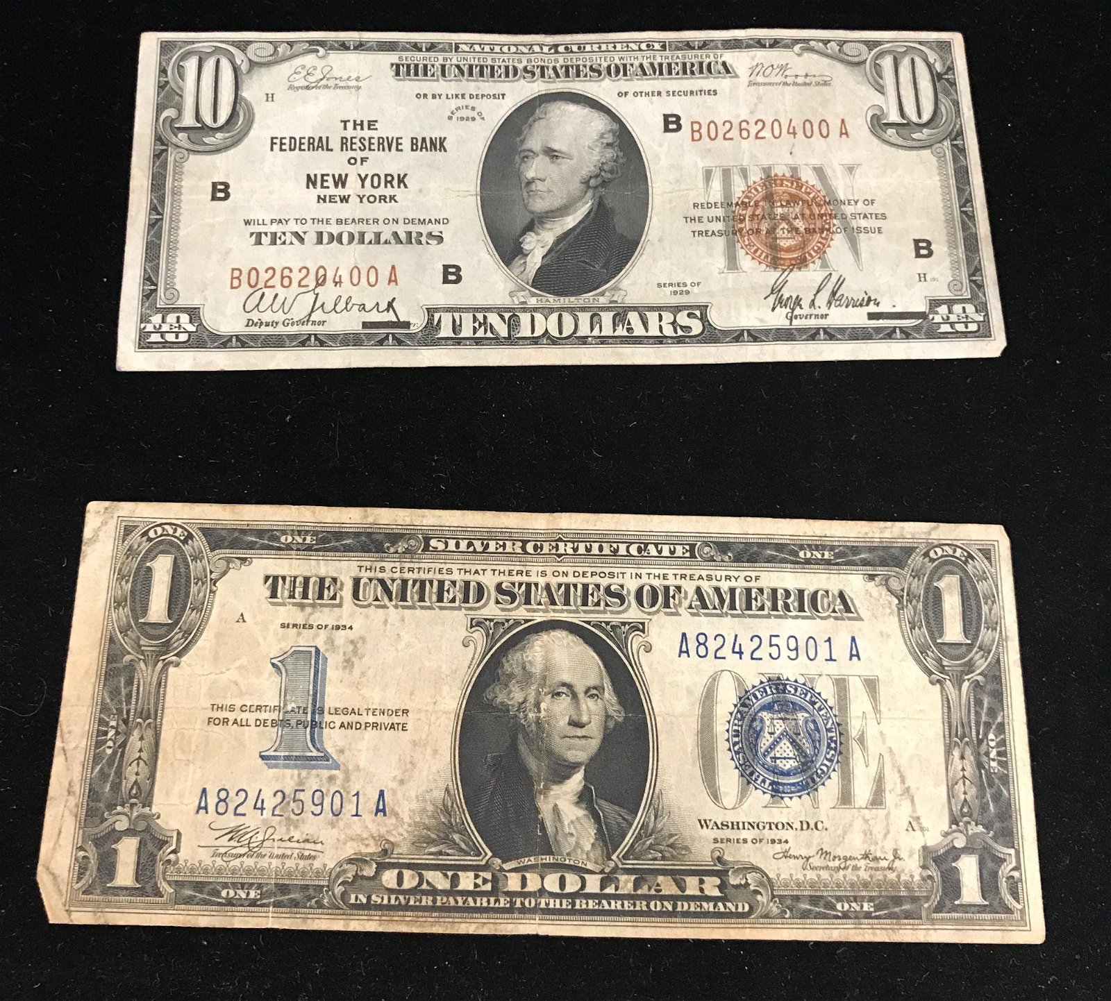 """SERIES 1929 $10 NATIONAL CURRENCY NOTE """"FEDERAL RESERVE"""