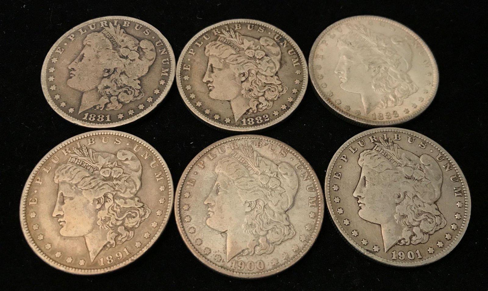 6 MORGAN SILVER DOLLARS INCLUDING 1881O, 1882O, 1888,