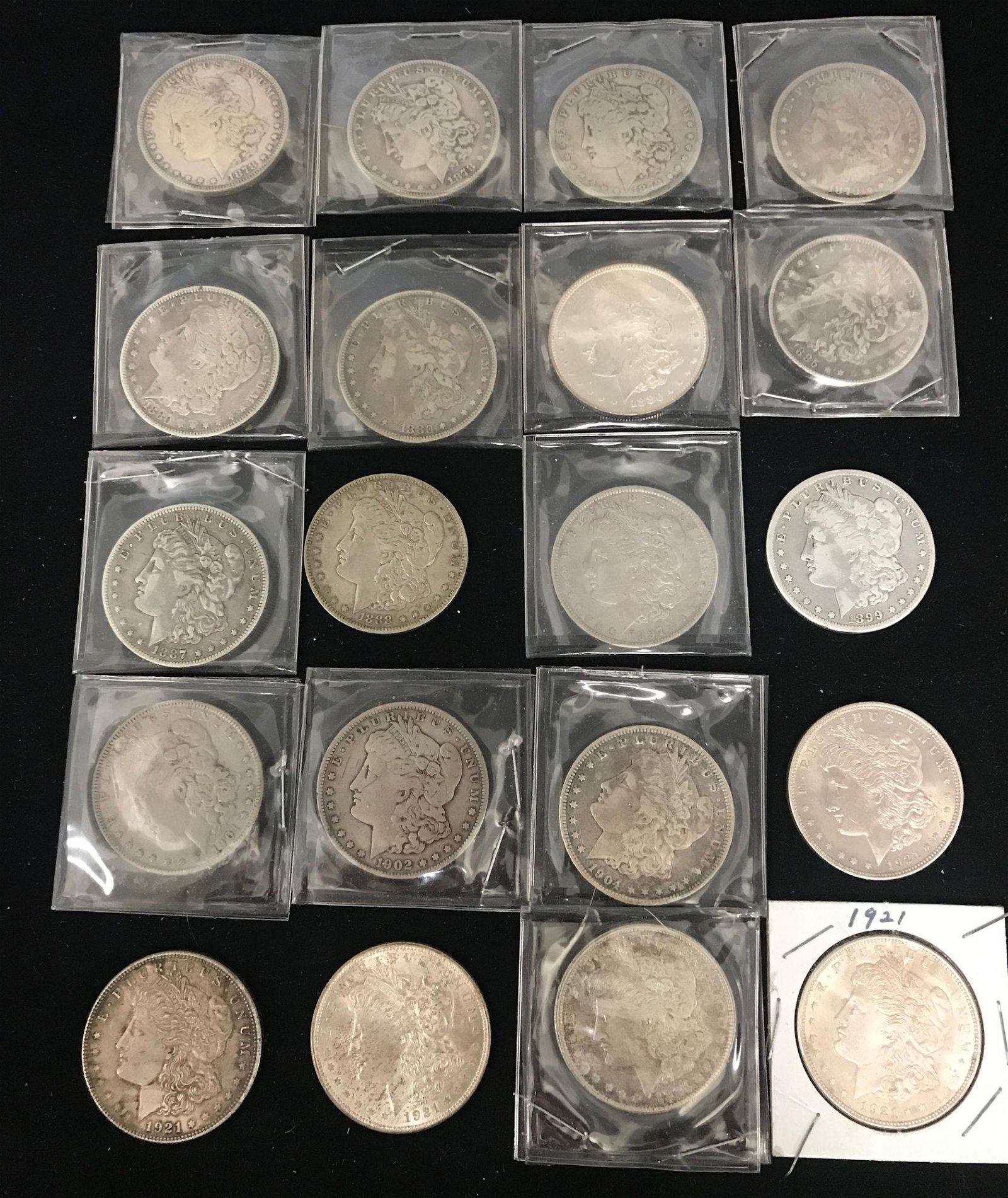 20 MORGAN SILVER DOLLARS INCLUDING (2) 1878, 1879,
