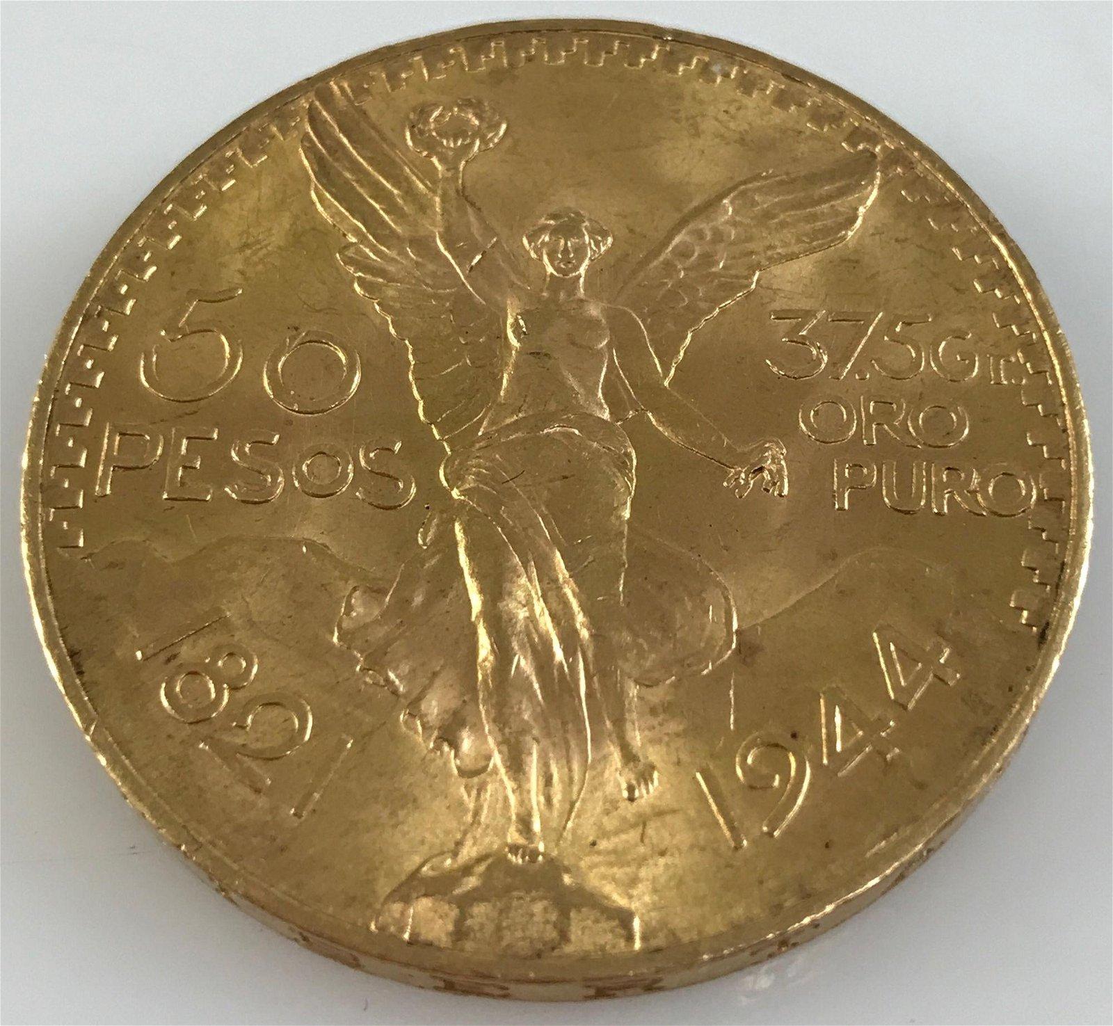 1944 MEXICO 50 PESOS GOLD COIN, .900 GOLD, 41.67g *tax