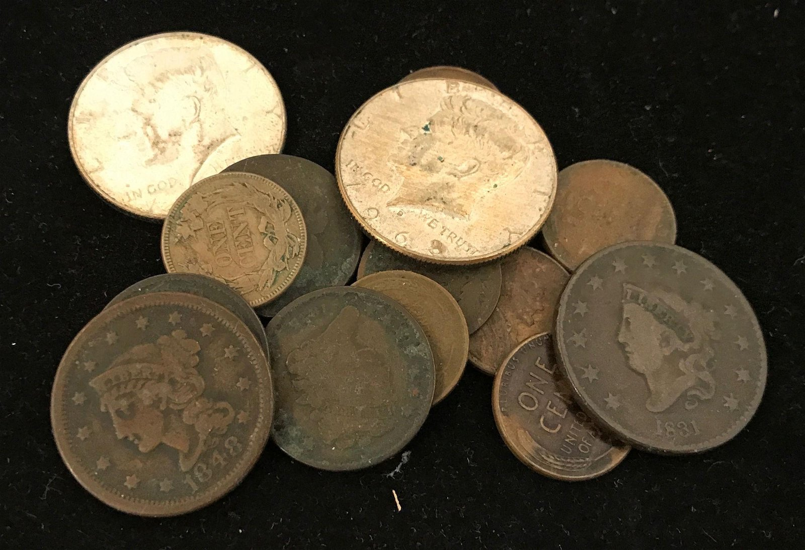 MIXED LOT INCLUDING (2) 40% KENNEDY HALF DOLLARS, 1831