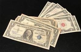 U.S. CURRENCY INCLUDING 11 TWO DOLLAR RED SEAL NOTES