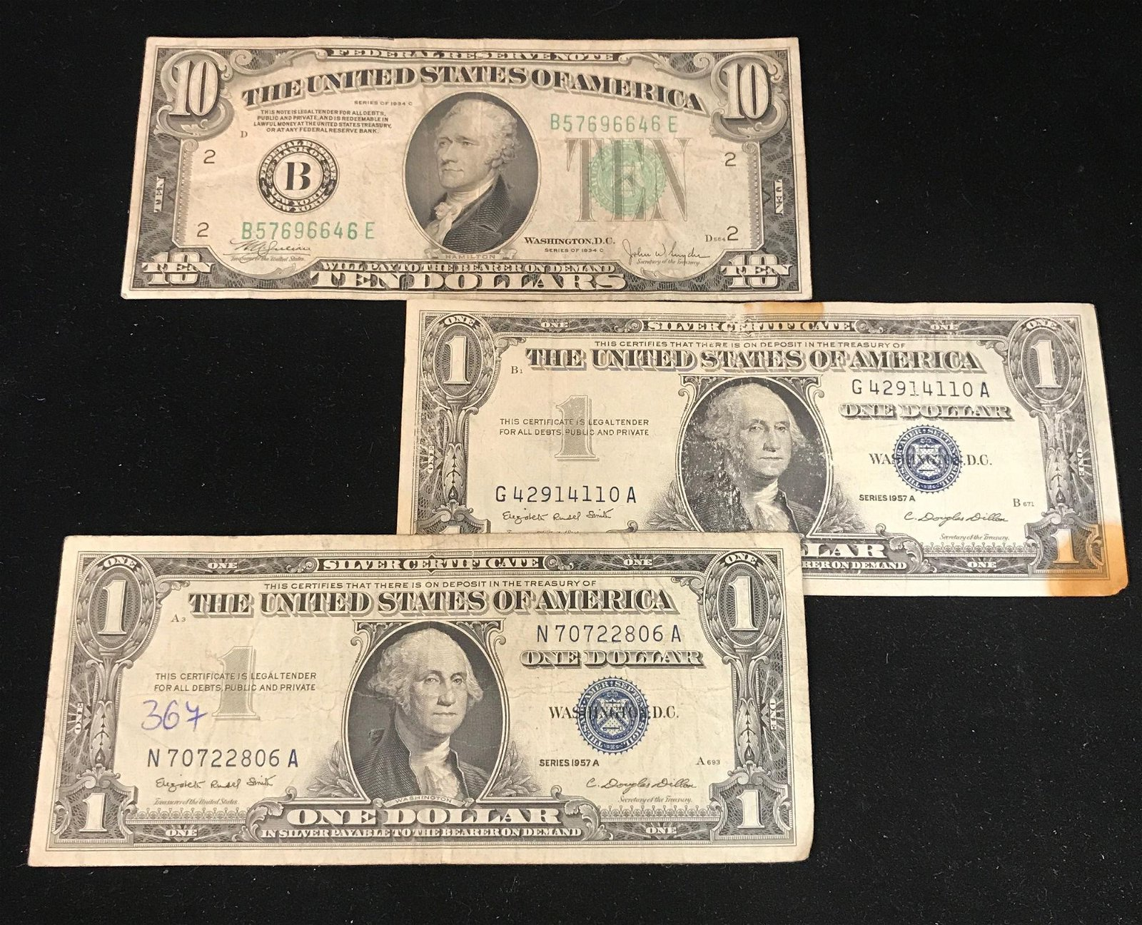 SERIES 1934 TEN DOLLAR FEDERAL RESERVE NOTE AND 2