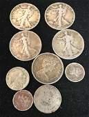 MIXED LOT INCLUDING 4 WALKING LIBERTY HALF DOLLARS, 1