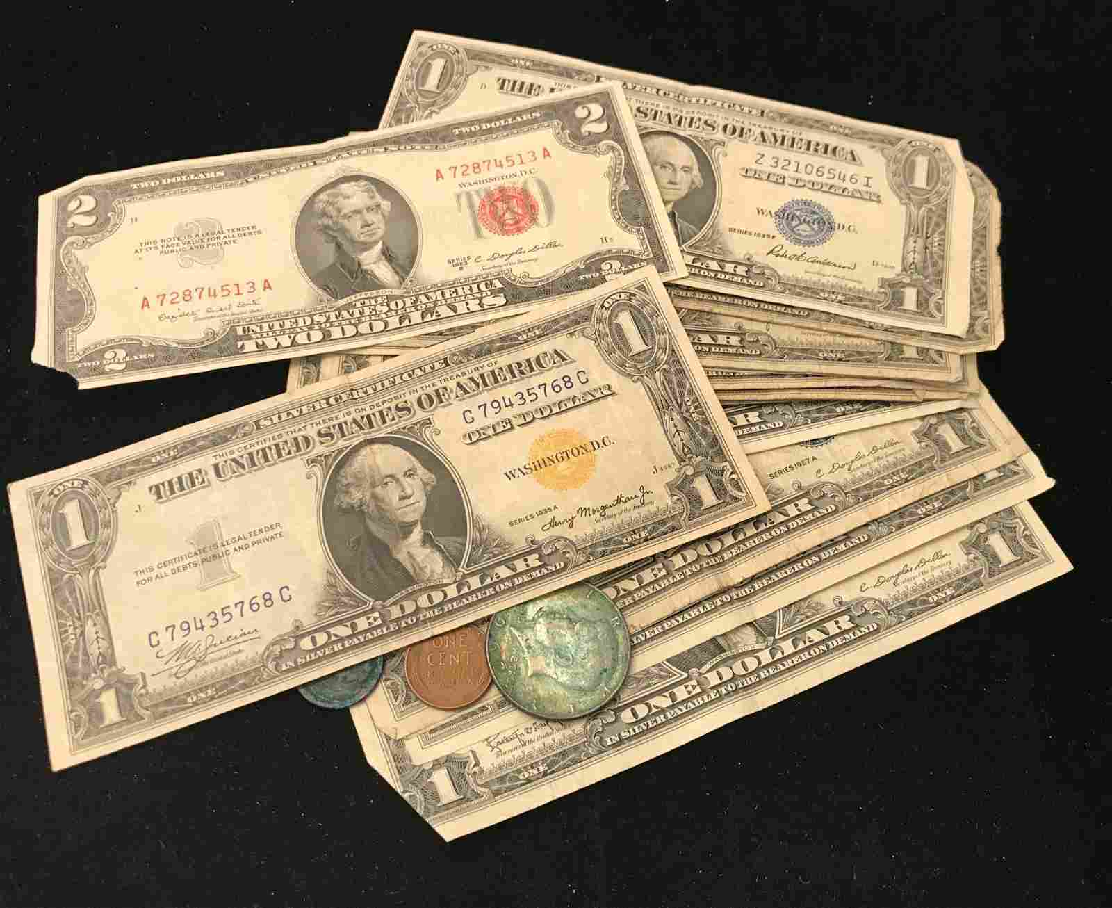 U.S. CURRENCY INCLUDING SERIES 1953 TWO DOLLAR RED SEAL