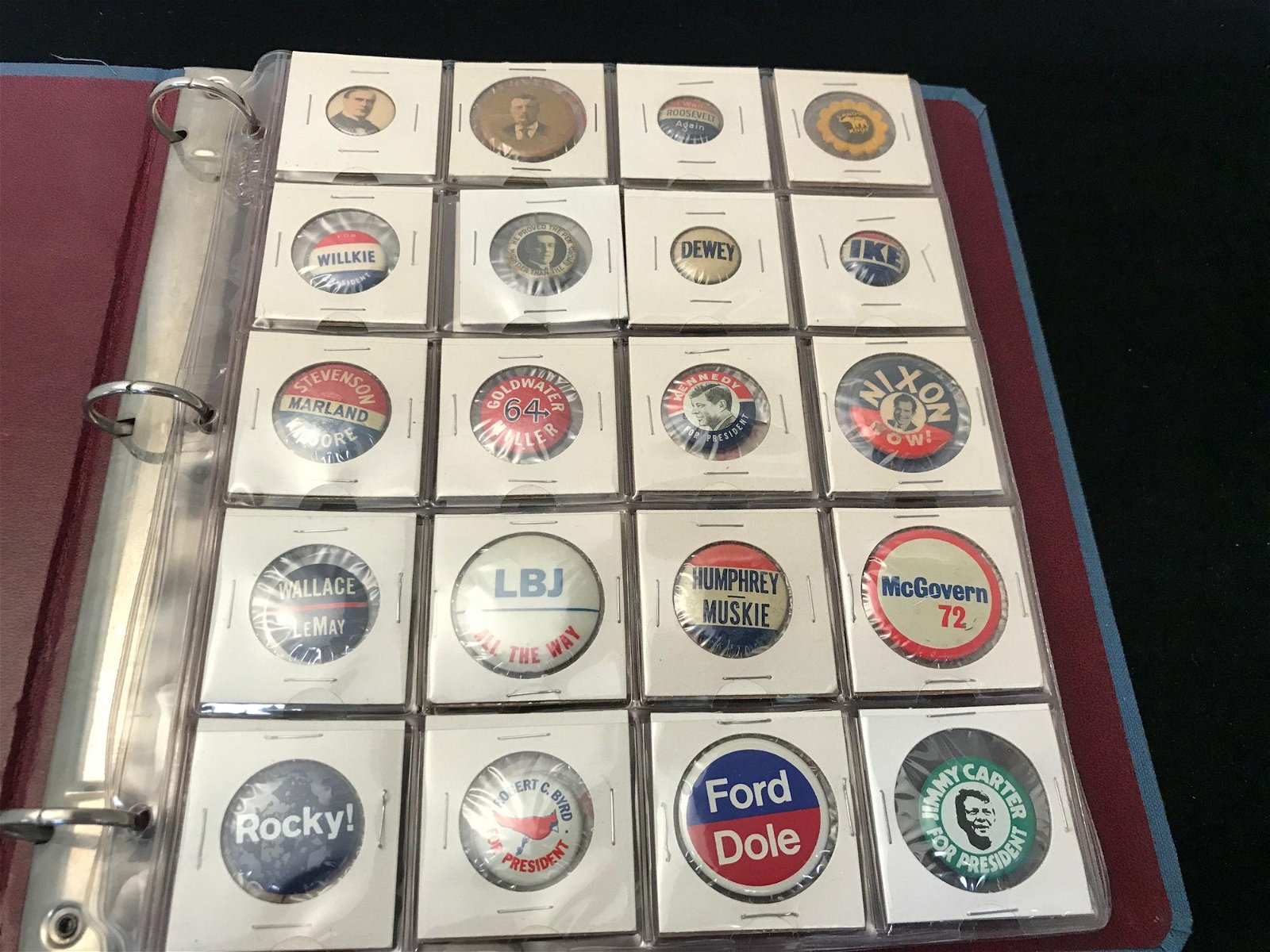 LOT POLITICAL BUTTONS INCLUDING THEODORE ROOSEVELT AND