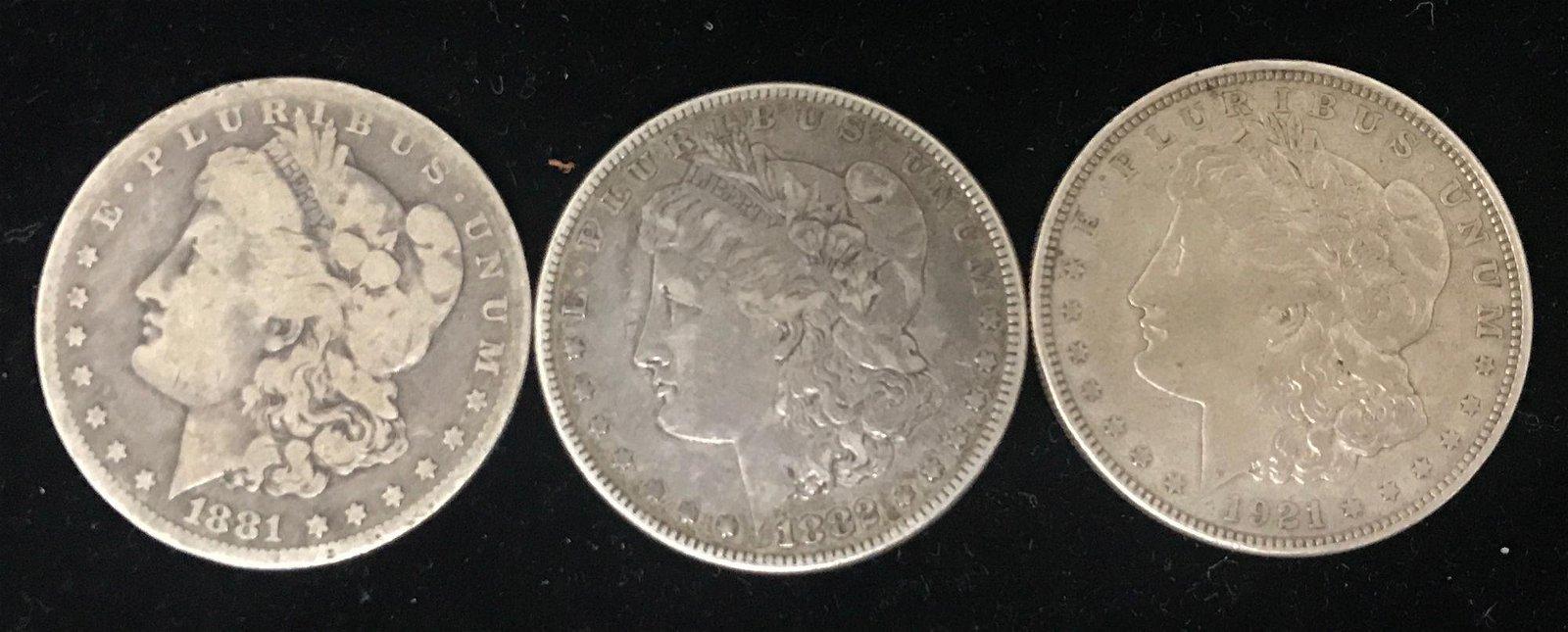 3 MORGAN SILVER DOLLARS 1881O, 1882, AND 1921 *tax