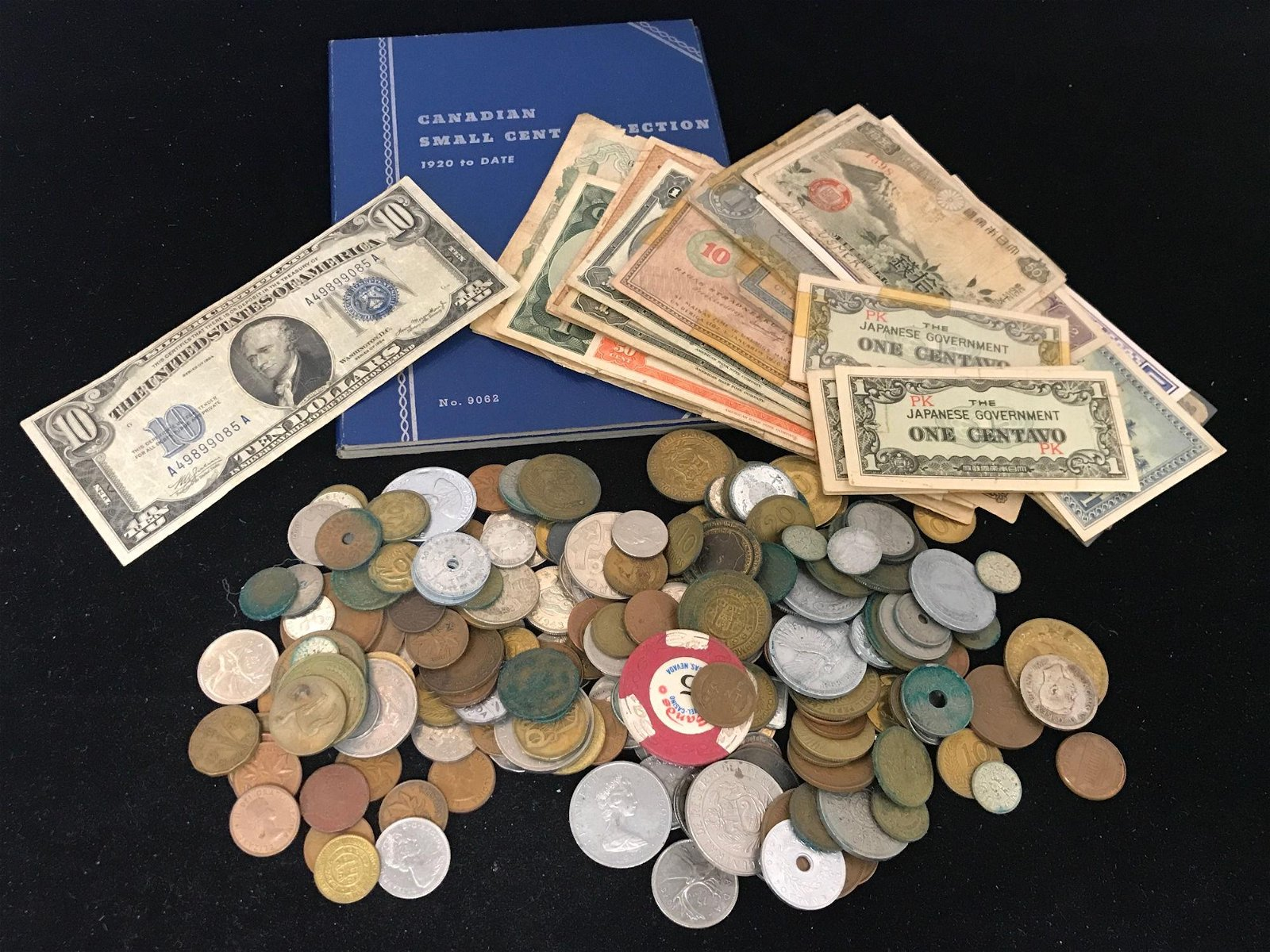 LOT INCLUDING FOREIGN COINS AND CURRENCY AND SERIES