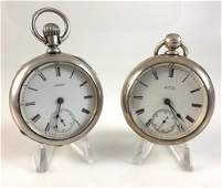 TWO ANTIQUE AWC COWALTHAM POCKET WATCHES