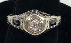 18KT WHITE GOLD VINTAGE DIAMOND & SAPPHIRE RING