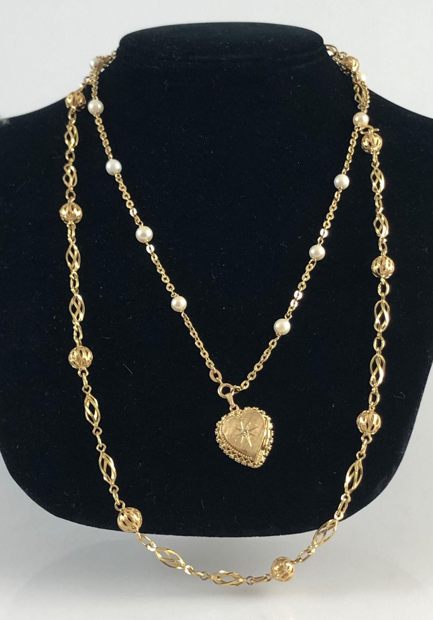 TWO GOLD NECKLACES