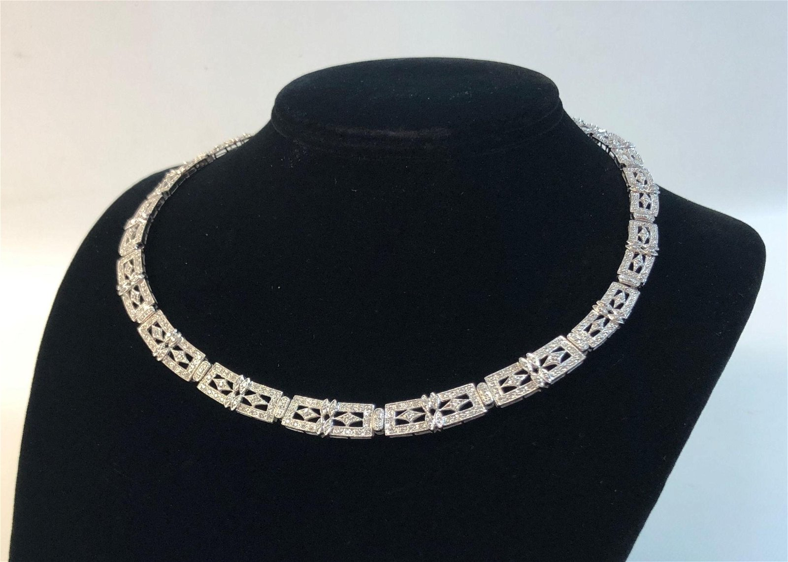"14K WHITE GOLD NECKLACE ~ 18"" OPENWORK ART DECO STYLE"