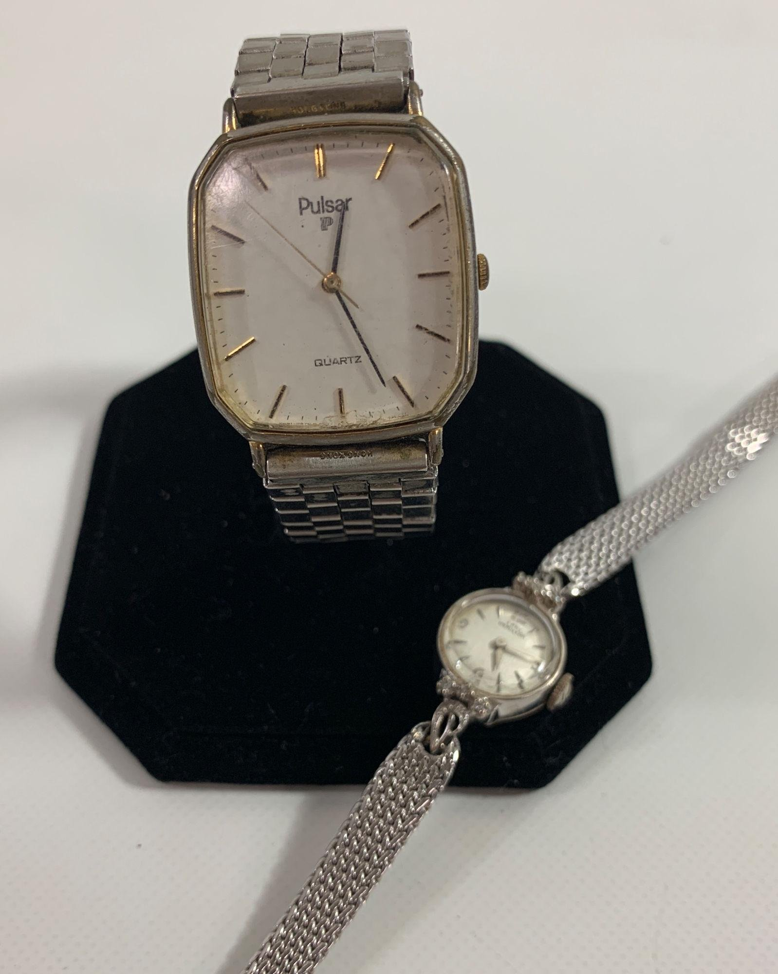TWO SILVER TONE WRIST WATCHES