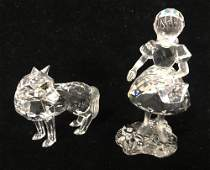 2 SWAROVSKI CRYSTAL FIGURES  RED RIDING HOOD AND WOLF