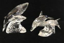 2 SWAROVSKI CRYSTAL FIGURINES  THE DOLPHINS AND THE