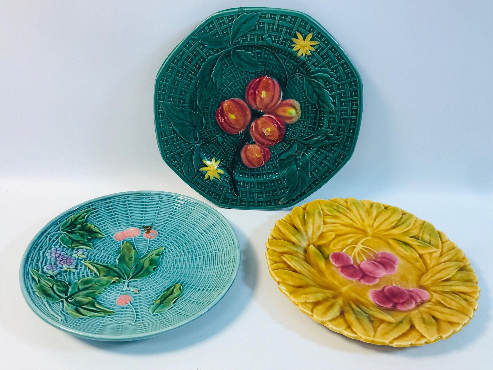3 MAJOLICA PLATES - YELLOW WITH CHERRIES, TURQUUISE
