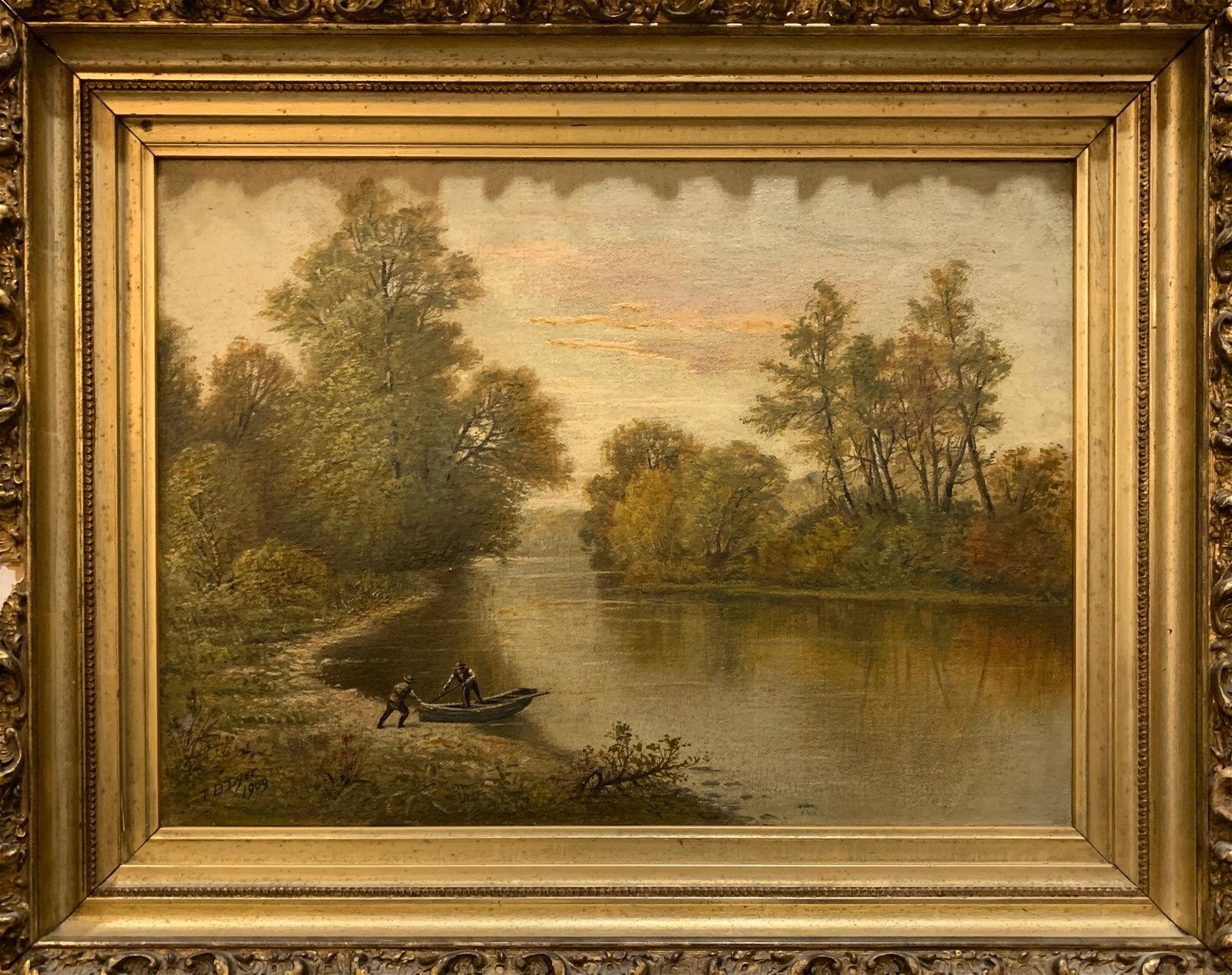 T. B. DYER OIL ON CANVAS, MEN WITH ROW BOAT, DATED