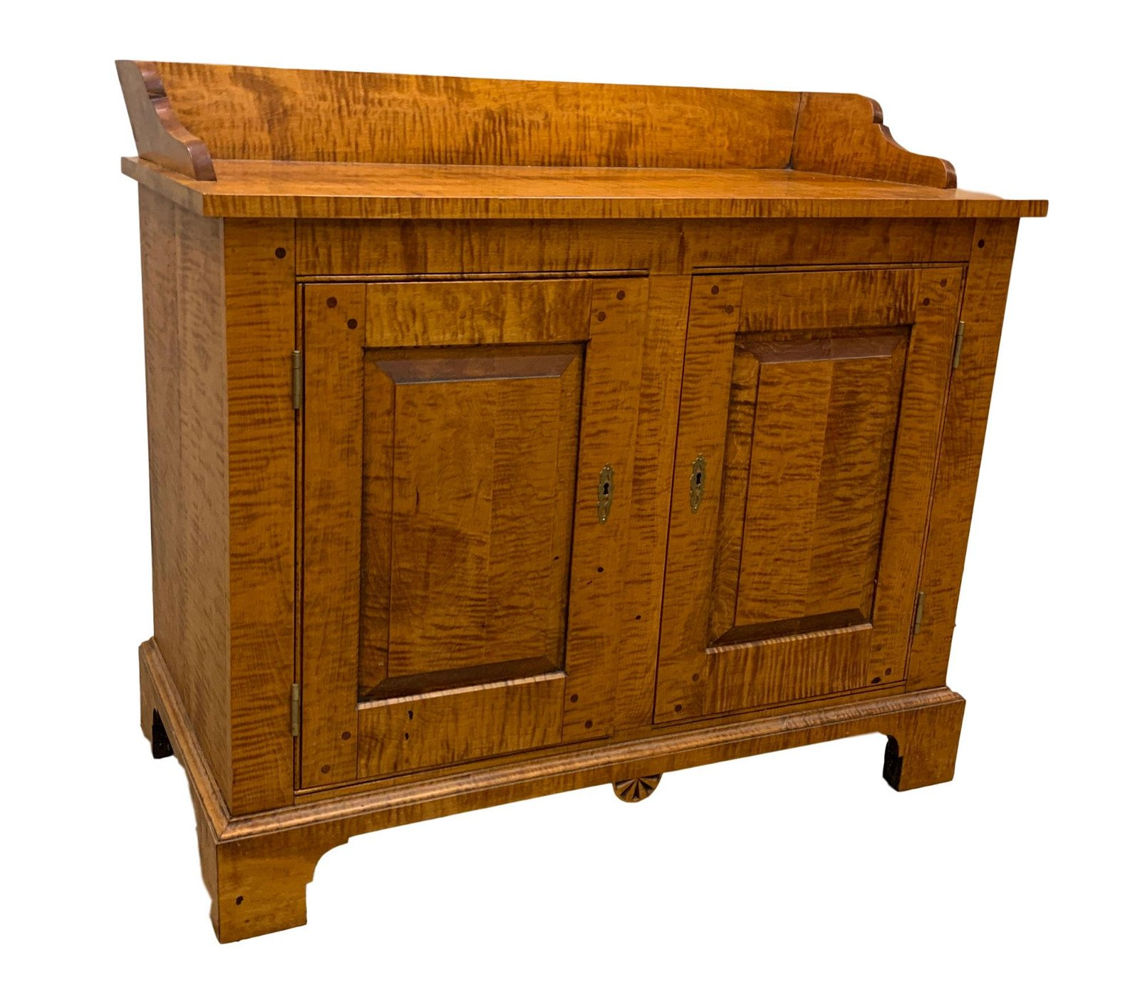 BENCH MADE CURLY MAPLE TWO DOOR CABINET WITH RAISED