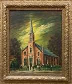 NOLAN PENNELL OHIO 18941972 OIL ON BOARD CHURCH