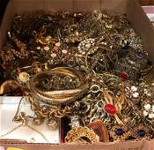 BOX LOT ASSORTED COSTUME AND FASHION JEWELRY PIECES