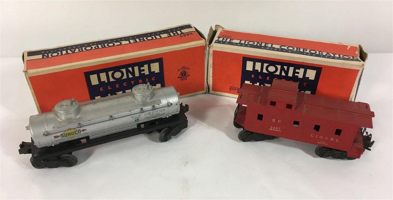2 LIONEL POSTWARE O GAUGE TRAIN CARS: NO. 2465 TANK CAR