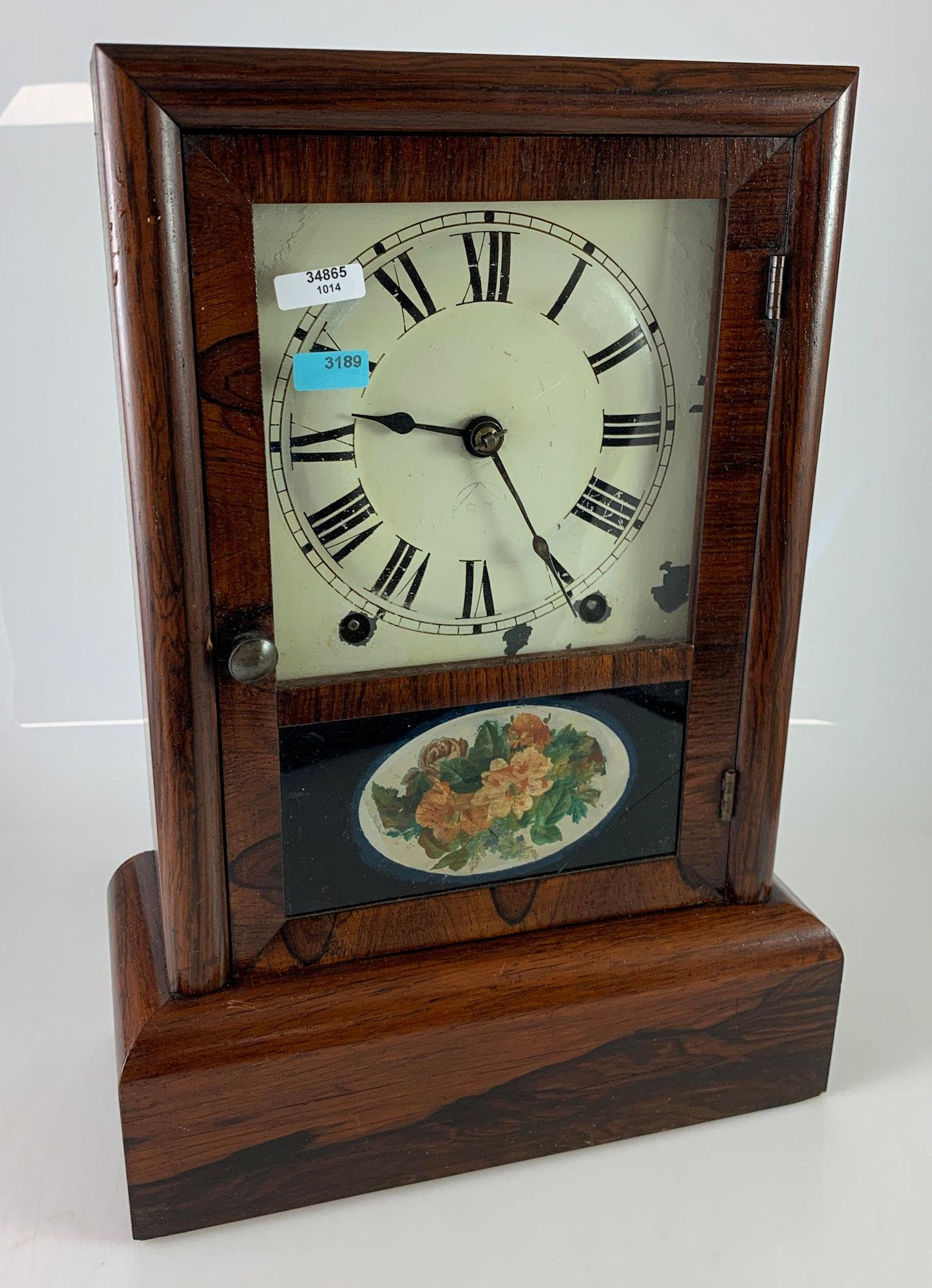 ROSEWOOD SETH THOMAS MANTLE CLOCK WITH REVERSE PAINTED