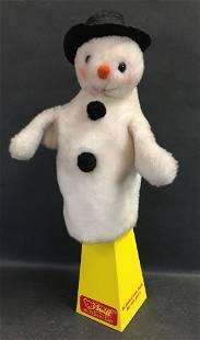 STEIFF SNOWMAN HAND PUPPET. DRAYLON WITH HARD STUFFED