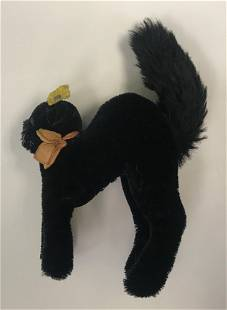 "STEIFF ""TOM CAT"". UNJOINTED BLACK MOHAIR STANDING CAT,"