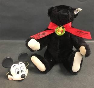 """13"""" STEIFF LIMITED EDITION BLACK MOHAIR TEDDY BEAR MADE"""