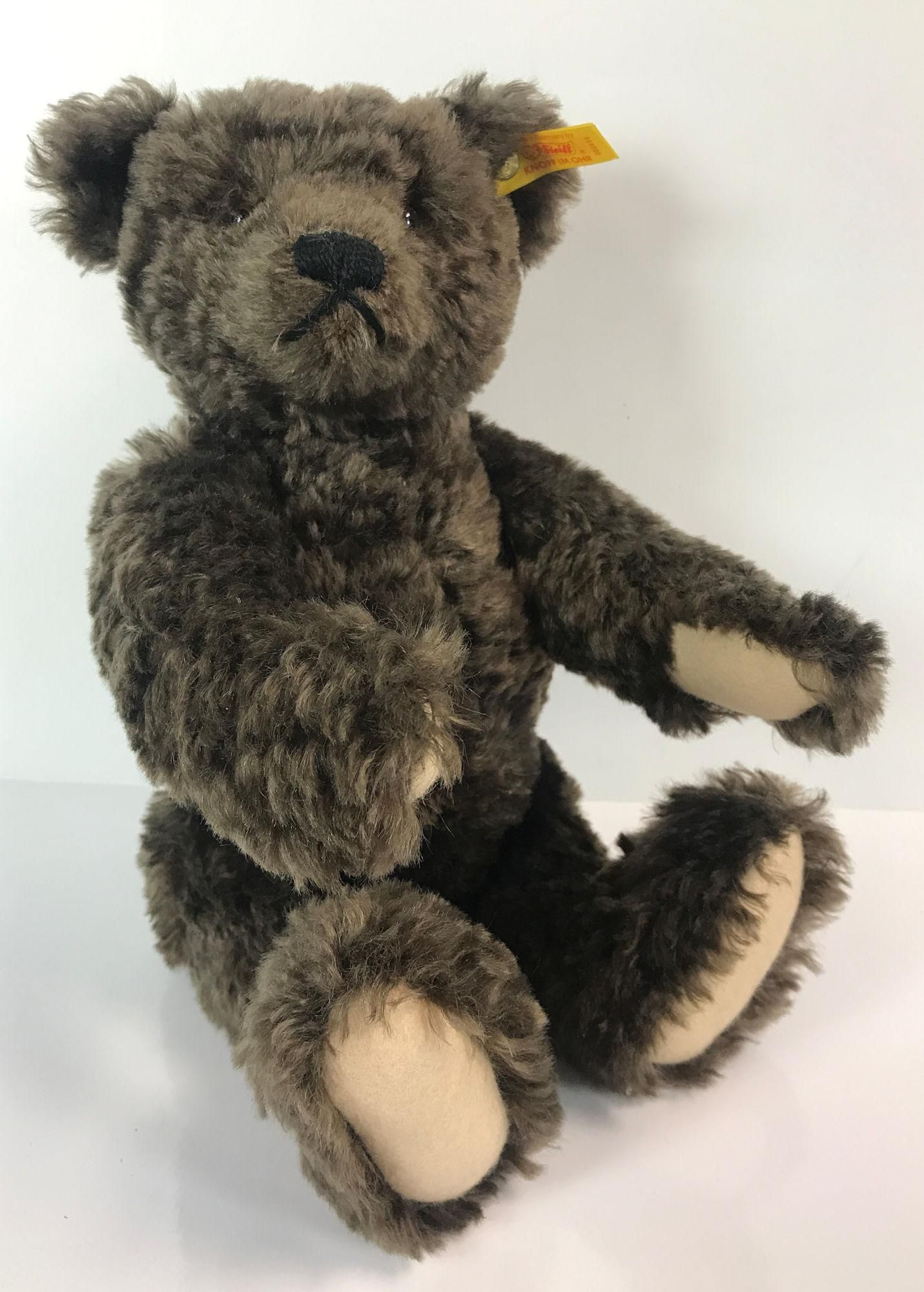 DARK BROWN CURLY MOHAIR STEIFF TEDDY BEAR. DISK JOINTED