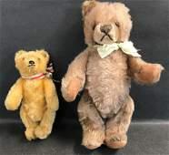 2 VINTAGE STEIFF MOHAIR TEDDY BEARS BOTH ARE DISK