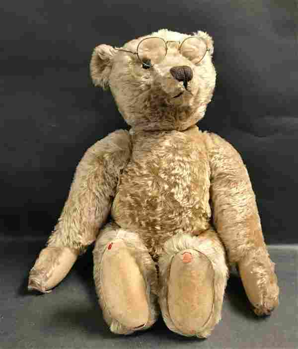 FABULOUS EARLY LARGE BLONDE MOHAIR STEIFF TEDDY BEAR.