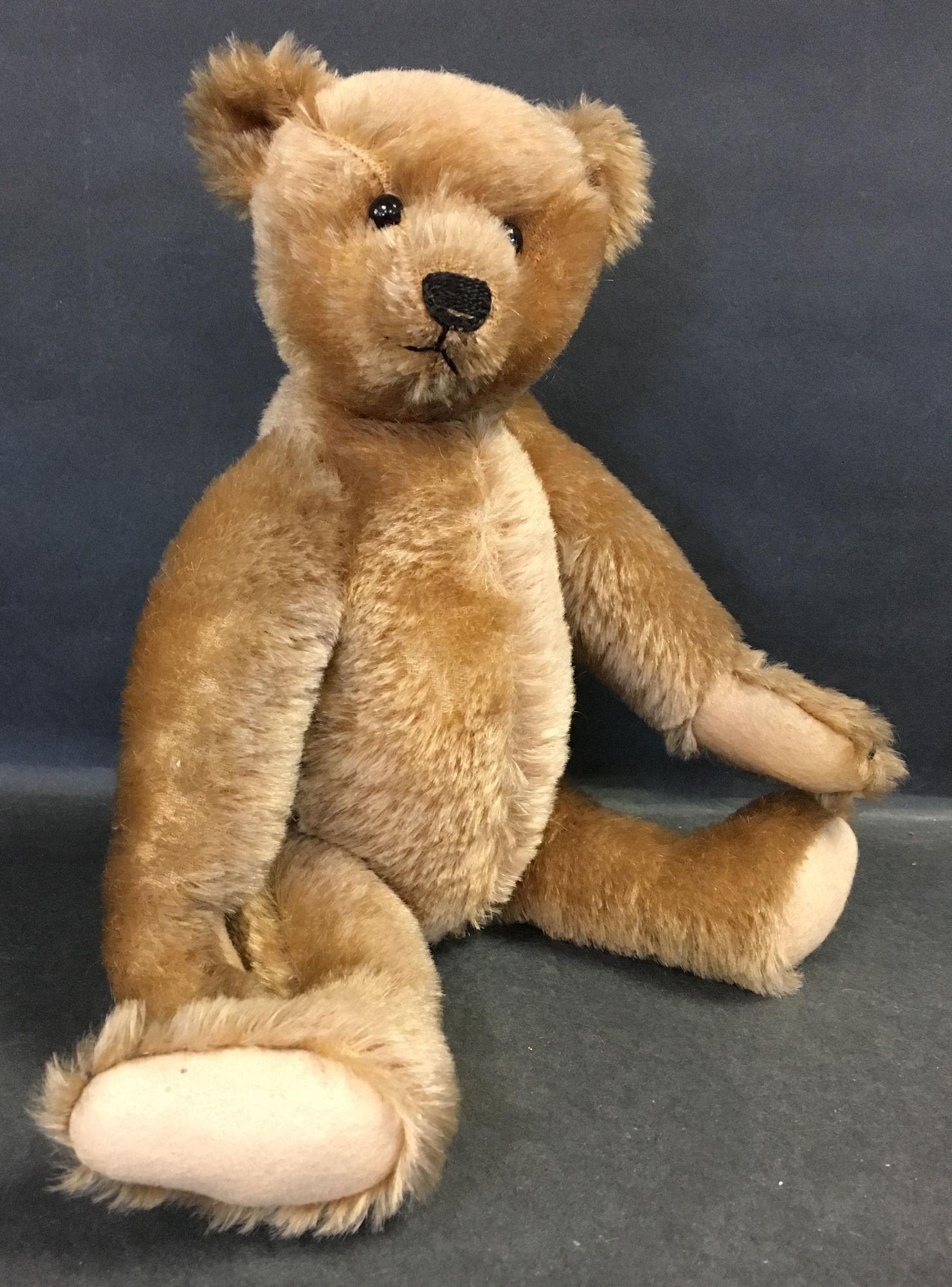 EARLY STEIFF CARAMEL MOHAIR TEDDY BEAR. DISK JOINTED AT