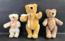 (3) SMALL STEIFF MOHAIR TEDDY BEARS. ALL ARE DISK