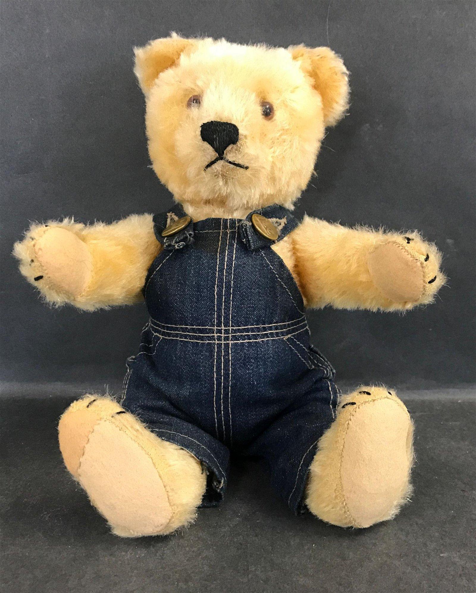 VINTAGE GOLD MOHAIR TEDDY BEAR LIKELY STEIFF. DISK