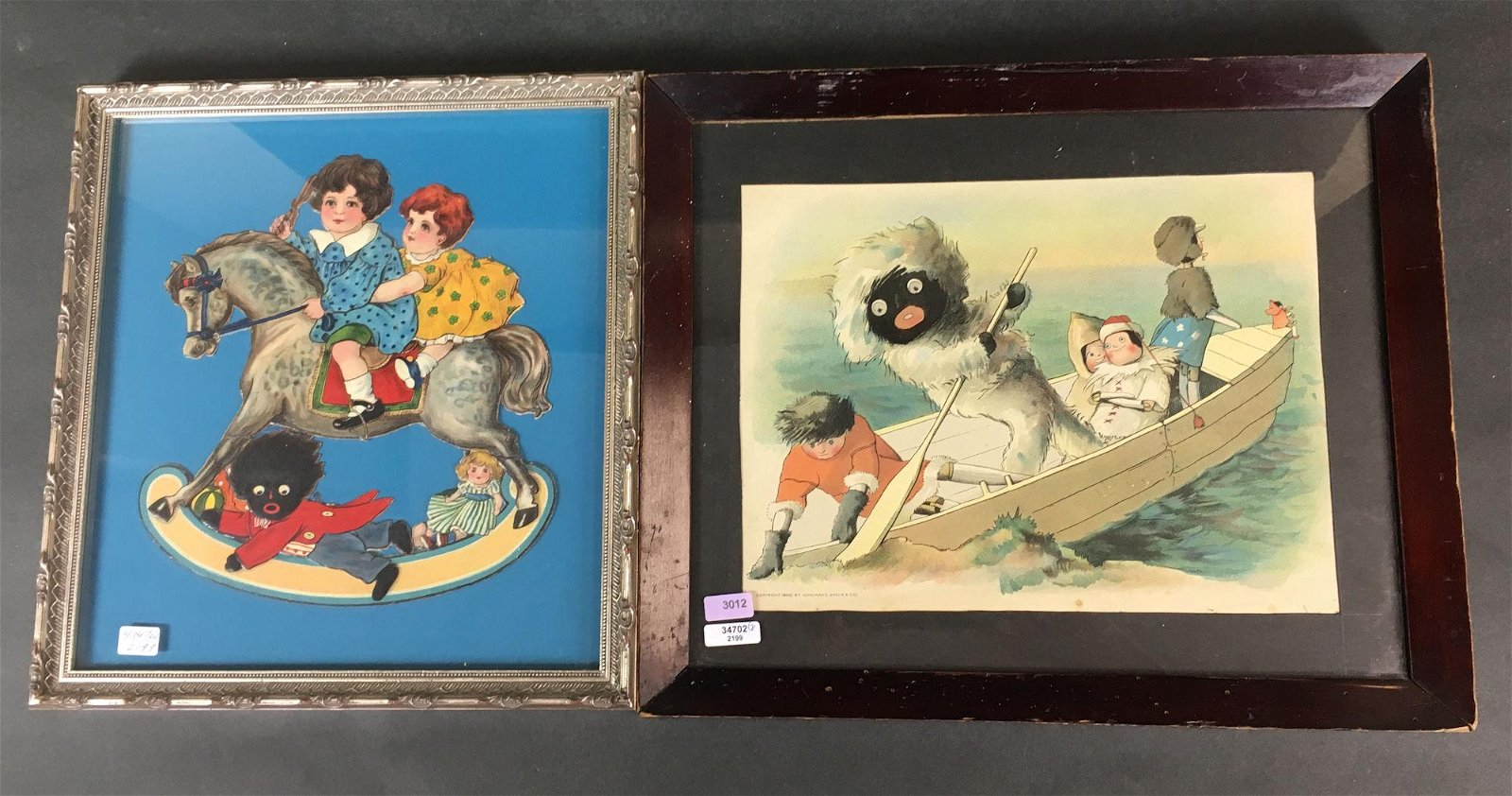 (2) FRAMED GOLLIWOG ITEMS INCLUDING EARLY PRINT AND DIE